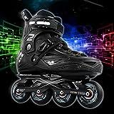 Inline-Skates - Speed-Skates, Laufschuhe, professionelle Eisschuhe für Kinder, Inline-Eisschuhe für Männer und Frauen【Schwarz】