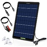 ECO-WORTHY 12 Volt 10 Watt Solar Autobatterie Ladegerät, Solarmodul Erhaltungsladung, tragbares Solarpanel Notstromversorgung mit Krokodilklemmen Adapter für Auto, Boot, Motorrad, Wohnmobil, LKW