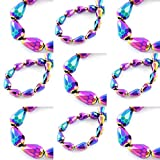 20 Tschechische Kristall Perlen Glasperlen 6mm x 4mm Tropfen Form Metallic Fire-Polished Schmuckperlen Kristallschliffperlen Glasschliffperlen Farbauswahl (Rainbow)