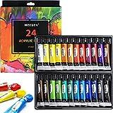 MEEDEN Acrylfarben-Set, 24 Farben/Tuben (12 ml), ungiftig, nicht verblassend, reiche Pigmente für Kunststudenten, Hobby-Maler und Kindermalerei auf Leinwand, Holz, Stoff, Keramik, Handwerk