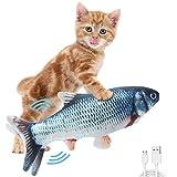 Elektrisches Katzenspielzeug Fisch, Katzenspielzeug zappelnder Fisch mit Katzenminze, interaktives Spielzeug USB aufladbarer simulierter Plüschfisch für Katzen zum Spielen, Beißen, Kauen und Treten