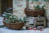 Dekoleidenschaft Füllkorb aus Weide mit Holzbügel, mittel, Obstkorb, Aufbewahrungskorb, Pilzkorb