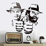 LCFF Wandtattoo 3D Wandaufkleber Wandbilder Aufkleber Bud Spencer und Terence Hill 65x57cm Dekorative Vinyl Tapete Abnehmbare Kinder Raum Wanddekor
