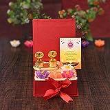 Sataanreaper Presentsdiwali Geschenk Combo - 4 Stück Wachs Schwimmkerzen Mit Goldener Oberfläche Kumkum Dani Chandan Roli Box - Diwali Dekoration Für Haus - Diwali#SR-0380