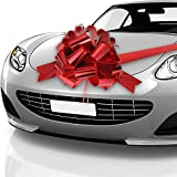 Auto Bow Bogen Schleife Auto Geschenk Verpackungsbogen mit 20 ft Auto Band für Auto Dekor Hochzeit New Houses Party Feier (Glänzendes Rot, 20 Zoll)