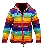 SHOPOHOLIC FASHION Regenbogen Gestreift mit Kapuze Wolljacke Fleecefutter Super Warm Handgestrickt Cool - Regenbogenforelle, Regenbogenforelle, L