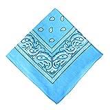 Alotpower Kopftuch, 100 % Baumwolle, Mehrzweck-Paisley-Druck, Cowboy-Haarband, Taschentücher, Krawatte - Blau -