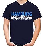 Hamburg Skyline Männer und Herren T-Shirt | Fussball Ultras Geschenk (XL, Navy)