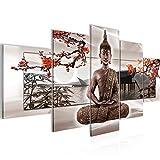 Bilder Buddha Feng Shui 5 Teilig Bild auf Vlies Leinwand Deko Wohnzimmer Kirschbaum Beige Rot 503252c