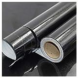 ZSFBIAO Möbelfolie Selbstklebend Tapeten Folie Klebefolie Möbel Selbstklebend für Möbel Küche Tür -Pearly Black 60cm*5m
