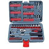 NIDONE Antrieb Metric Socket Set Schnellspanner Ratschenschlüssel 1/4 Mechaniker-Werkzeug-Set für Autoreparaturen Mechaniker Red 126pcs