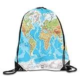 Ccsoixu Drawstring Backpack Gym Bag Travel Backpack World MAPS HD Small Drawstring Backpacks Women Men Adults,Drawstring Bag Sport Gym Backpack Gym Bag for Men and Women