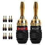 Goaycer Bananenstecker 4mm mit 24k Messing Vergoldet für Alle Lautsprecher Kabel von 0.8mm² bis 8.5mm² Kabel Querschnitt Geeignet (6 Paare)