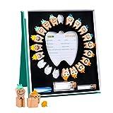 Zahnbox Holz Milchzähne Box,Zahndose Milchzähne inkl für Mädchen und Jungen, Laubzähne Box Behälter mit Pinzette für Kinder, Zahnschoner Box Geschenkideen zu Taufe und Geburtstag
