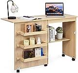 RELAX4LIFE Faltbarer Nähtisch auf Rollen, Nähmaschinenschrank aus Holz, Nähschrank, Mehrzwecktisch, ideal für Wohnzimmer, Schlafzimmer und Arbeitszimmer (Beige)