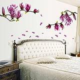 Saingace® Wandaufkleber Wandtattoo Wandsticker,Magnolien-Blumen-Haus-Haus-Raum-Wand-Aufkleber-Wand-Dekor-Abziehbild entfernb