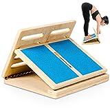 GOPLUS Stretch Board für Waden Training, Slant Board/Keil Board/Steigung Board mit Verstellbaren 4 Grade, Fußstretcher Wadenstrecker mit Tragetasche aus Holz, für Dehnen Knöchel Beinmuskel Stretch