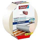 tesa Verlegeband rückstandsfrei entfernbar - Gewebeverstärktes, doppelseitiges Klebeband zum Verkleben von Teppich- und PVC-Bodenbelägen - 25 m x 50