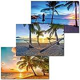 GREAT ART 3er Set XXL Poster – Zwielicht Strände – Palmen Strand Barbados Sonnenuntergang Ozean Karibik Motiv Urlaub Wand Dekor Inneneinrichtung Wandbild Plakate je 140 x 100 cm