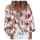 Writtian Damen Chiffon Schulterfrei Oberteil Elegant Boho Blumendruck Bluse Sommer Sexy Trägerlos Oversize Top T-Shirts mit Schleife