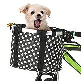 Lixada Faltbarer Fahrradkorb, abnehmbar, für kleine Hunde, für Haustiere, Korb vorne für Fahrradlenker, Farbe 1