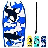 RELAX4LIFE Schwimmbrett tragbar, Schwimmboard mit Halteleine, Rutschfestes Surfbrett für Kinder & Erwachsene, Surfboard bis 85 kg belastbar, Bodyboard Shortboard, 104 x 52 x 6cm, XPE HDPE (Blau)