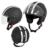 A-Pro Motorradhelm Motorrad Roller Offenes Jet Helm Viser ECE 22 05 Matt Schwarz 2XL