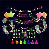 YHQ Fluoreszierende Party-Dekorationen, fluoreszierende Buchstaben, Geburtstagskuchen, Kartenballon-Set
