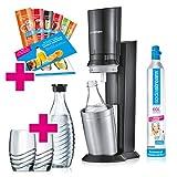 SodaStream Crystal 2.0 Wassersprudler-Set Promopack mit CO2-Zylinder, 2x Glaskaraffen, 2x Trinkgläsern, titan