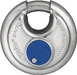 ABUS Diskus® Vorhängeschloss 24IB/70 aus Edelstahl - mit 360° Rundumschutz - zur Sicherung bei starken Witterungseinflüssen - 02050 - Level 8 - Silber/Blau