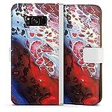 DeinDesign Klapphülle kompatibel mit Samsung Galaxy S8 Plus Duos Handyhülle aus Leder weiß Flip Case Wasserfarbe bunt Farbe