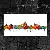 Kunstbruder Oldenburg Skyline - Light (div. Grössen) - Kunst Druck auf Leinwand 40x80cm