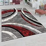 Paco Home Teppich Wohnzimmer Kurzflor Vintage Handgearbeiteter Konturenschnitt 3D Optik, Grösse:60x110 cm, Farbe:Grau-R