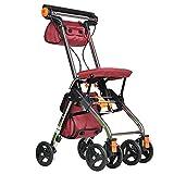 GAOXIAOMEI Leichtgewicht Klappbare Gehhilfe, Rollator mit Bremsen Sitz, für Senioren,Behinderte (rot)