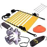 SEIWEI Trainingsset für Geschwindigkeit und Beweglichkeit, trainiert Fußgeschwindigkeit, stärkt Konfrontation, Koordinationsleiter, Widerstands-Fallschirm, 5 Scheiben-Kegel, 4 Stahlheringe