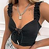maozuzyy T-Shirt Kurzarmhemden Neue Damen Leibchen Streetwear Sexy Gekräuselte Schultergurte V-Ausschnitt Verband Dünne Weste Schwarze Weste Damenbekleidung-Black_L