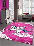 Kinderteppich Spielteppich Kinderzimmer Teppich Einhorn Design mit Konturenschnitt Pink Creme Türkis Größe 120x170
