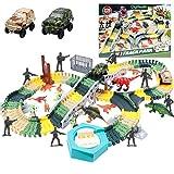 DigHealth 225 PCS Flexible Auto Rennstrecken Set mit Dinosaurier Spielzeug, Autorennbahn, Autos, Soldaten, Bäume, Hindernis und Pisten, Geburtstagsgeschenke für Kinder 3-8 Jahre Alte