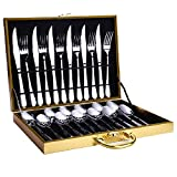 Steakbesteck aus Edelstahl, 3-teiliges Westernbesteck in Geschenkverpackung, Haushaltsgeschirr, 24-teiliges Komplettset