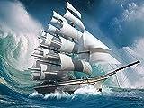 Xevkkf 5D Diamant-Gemälde-Kreuzstich-Sets,Segelboot Diamond Painting Vollbohrer Kristall Strass Stickerei Bilder Kunst Handwerk für Home Wand Dekoration(40x50cm)