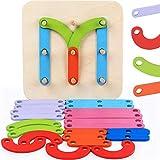 Geometrisches digitales Buchstaben-Tier-Puzzle, Holzspielzeug, Baby-Phantasie, pädagogisches Spielzeug-Set