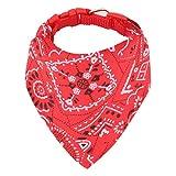 Hunde Bandana Kopftücher Haustier Halstuch Einstellbare für Welpen Kleine Hund Katze (L, Rot)