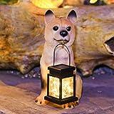 YONGMEI Solargarten-Statue, Solargarten-Lichtlaterne, Dog-Harz-Dekorationslampe im Freien, wasserdichte Landschaftsbeleuchtung für Terrasse, Rasen, Yard (Color : B)
