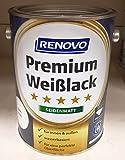 0,75 Liter RENOVO Premium Weisslack seidenmatt Weiss