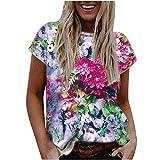 Damen Shirt Sommer Kurzarm Bunt Drucken Tops Rundhals Bluse Basic T-Shirt Lose Oversize Shirt Casual Brief Bedruckt Oberteile Top Täglicher Verschleiß