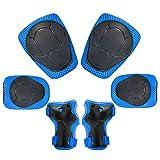 Kinder Knieschoner Set 6 in 1 Schutzausrüstung Kinder Knieschützer Ellbogenschützer Set Schutzausrüstung Set für Skateboard Radfahren Roller Skating Radfahren (Blau)