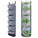BTONGE vertikale Pflanztaschen, 6 Taschen, zum Aufhängen, für den Garten, für den Innen- und Außenbereich, für Blumen, Kräuter, Sukkulenten, Erdbeeren, Grau, 1 Stück