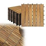 HEHS Terrassenfliese 30x30 cm Akazien-Holz Holzfliesen Mosaik, 22 Stück Akazien Hartholz Deck Fliesen,Zuschneidbar Terrasse Balkon (Model A, ca. 2m²)
