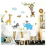 Little Deco Kinderzimmer Wandtattoo Dschungeltiere Affen Elefant I 140 x 78 cm (BxH) I Wandaufkleber Junge Deko Babyzimmer Wandsticker Sticker DL206-21