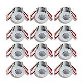 3W LED Mini Einbaustrahler, Aluminium, IP65 Schutz, 3000K Warmweiß, Dimmbar über Funk, Innen- und Außenbeleuchtung ideal für Terrassenüberdachung, Badezimmer, etc (Silber, 12x Minispot)